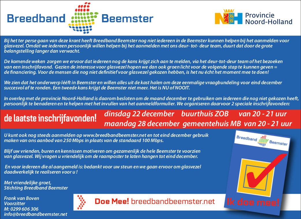 advertentie Breedbandbeemster FAQ 22