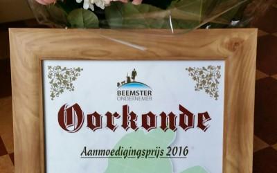 Oorkonde Aanmoedigingsprijs 2016 voor Breedband Beemster