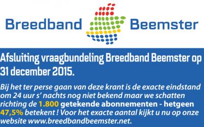 Afsluiting vraagbundeling Breedband Beemster op  31 december 2015.